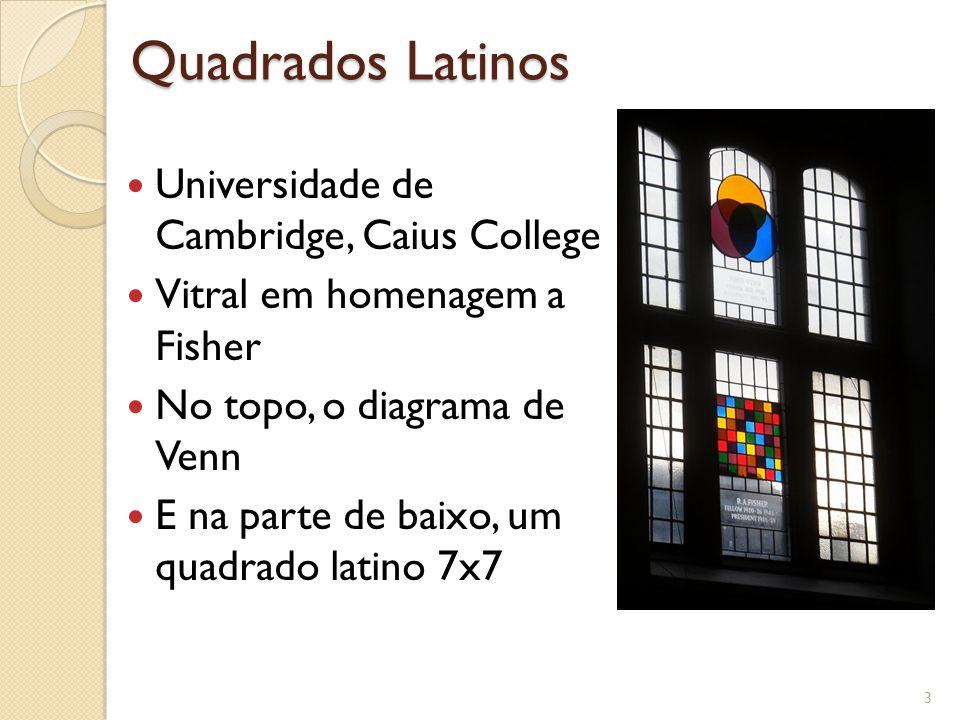 Quadrados Latinos 3 Universidade de Cambridge, Caius College Vitral em homenagem a Fisher No topo, o diagrama de Venn E na parte de baixo, um quadrado