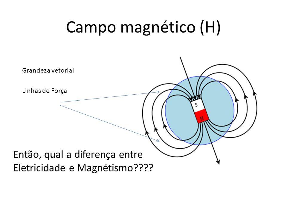 Campo magnético (H) Grandeza vetorial Linhas de Força Então, qual a diferença entre Eletricidade e Magnétismo????