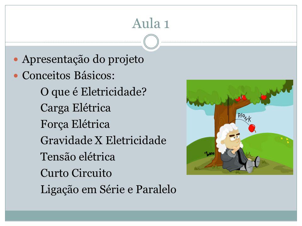 Aula 1 Apresentação do projeto Conceitos Básicos: O que é Eletricidade? Carga Elétrica Força Elétrica Gravidade X Eletricidade Tensão elétrica Curto C