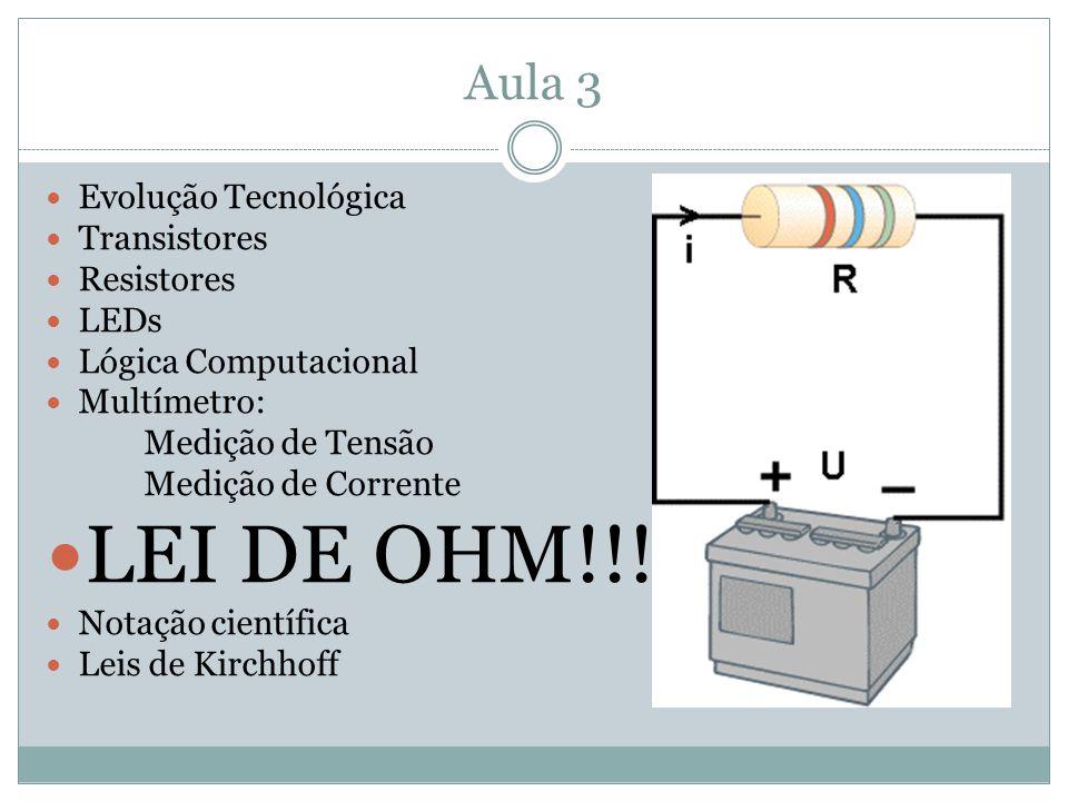 Aula 3 Evolução Tecnológica Transistores Resistores LEDs Lógica Computacional Multímetro: Medição de Tensão Medição de Corrente LEI DE OHM!!!!! Notaçã