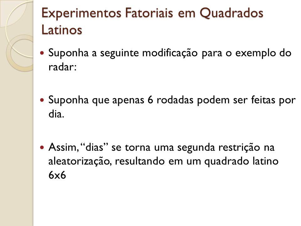 Experimentos Fatoriais em Quadrados Latinos Suponha a seguinte modificação para o exemplo do radar: Suponha que apenas 6 rodadas podem ser feitas por