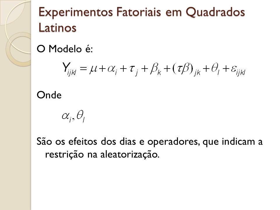 Experimentos Fatoriais em Quadrados Latinos O Modelo é: Onde São os efeitos dos dias e operadores, que indicam a restrição na aleatorização.