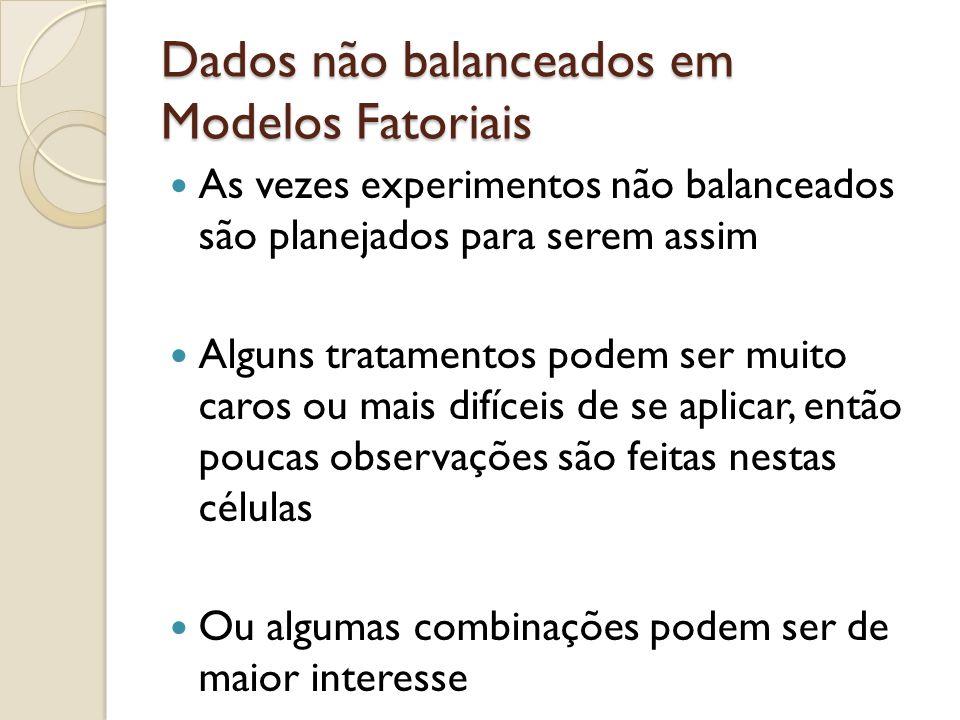 Dados não balanceados em Modelos Fatoriais As vezes experimentos não balanceados são planejados para serem assim Alguns tratamentos podem ser muito ca
