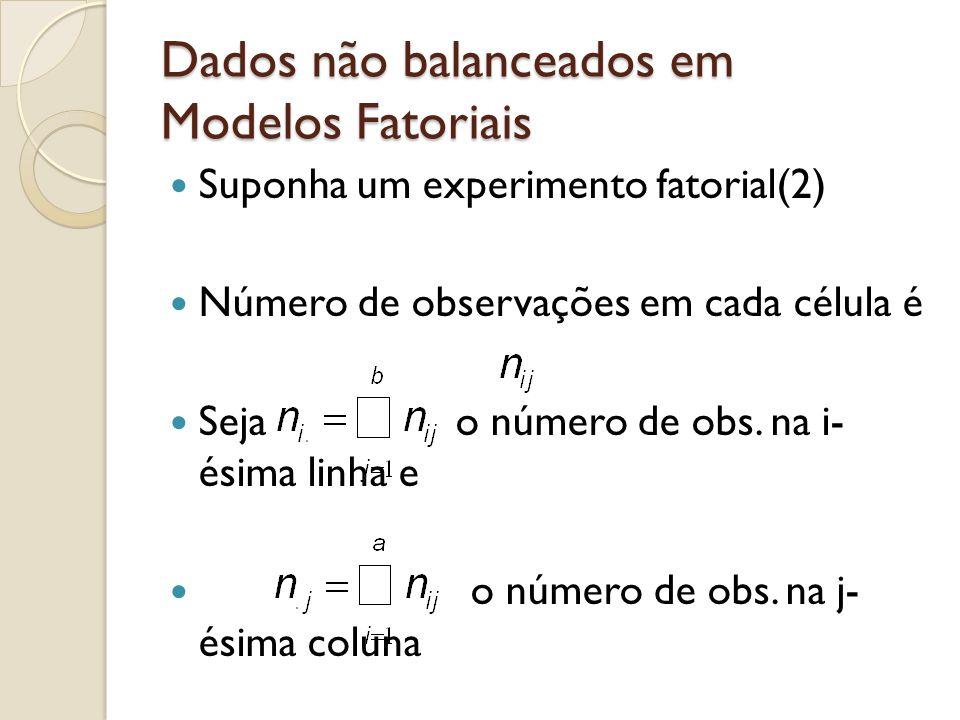 Dados não balanceados em Modelos Fatoriais Suponha um experimento fatorial(2) Número de observações em cada célula é Seja o número de obs. na i- ésima