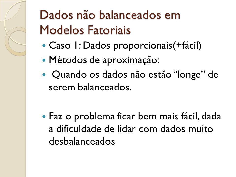 Dados não balanceados em Modelos Fatoriais Caso 1: Dados proporcionais(+fácil) Métodos de aproximação: Quando os dados não estão longe de serem balanc