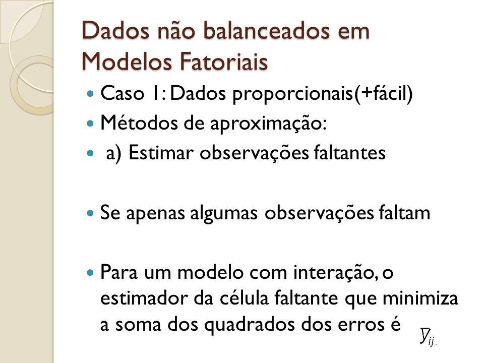 Dados não balanceados em Modelos Fatoriais Caso 1: Dados proporcionais(+fácil) Métodos de aproximação: a) Estimar observações faltantes Se apenas algu