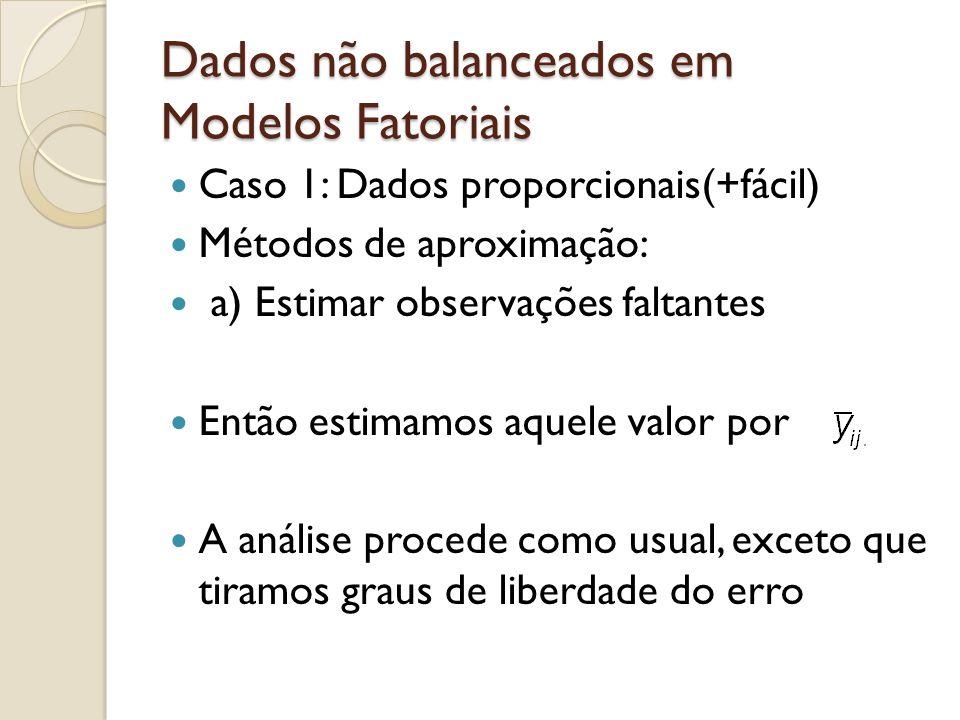 Dados não balanceados em Modelos Fatoriais Caso 1: Dados proporcionais(+fácil) Métodos de aproximação: a) Estimar observações faltantes Então estimamo