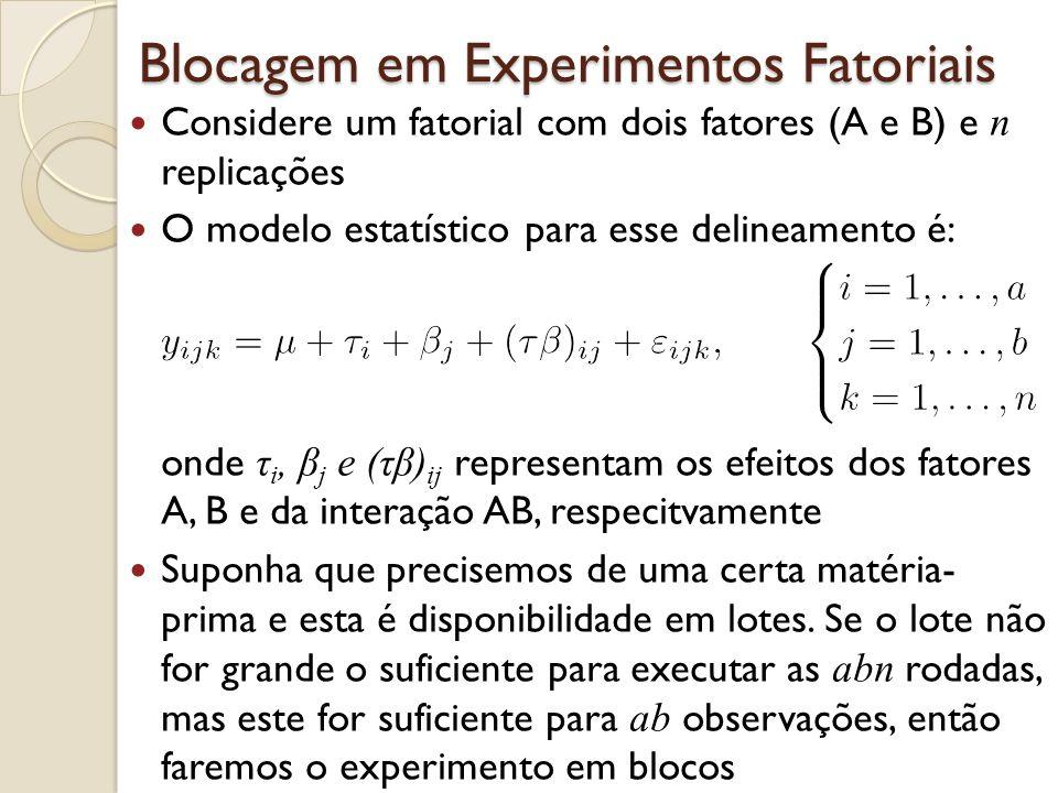 Blocagem em Experimentos Fatoriais Considere um fatorial com dois fatores (A e B) e n replicações O modelo estatístico para esse delineamento é: onde
