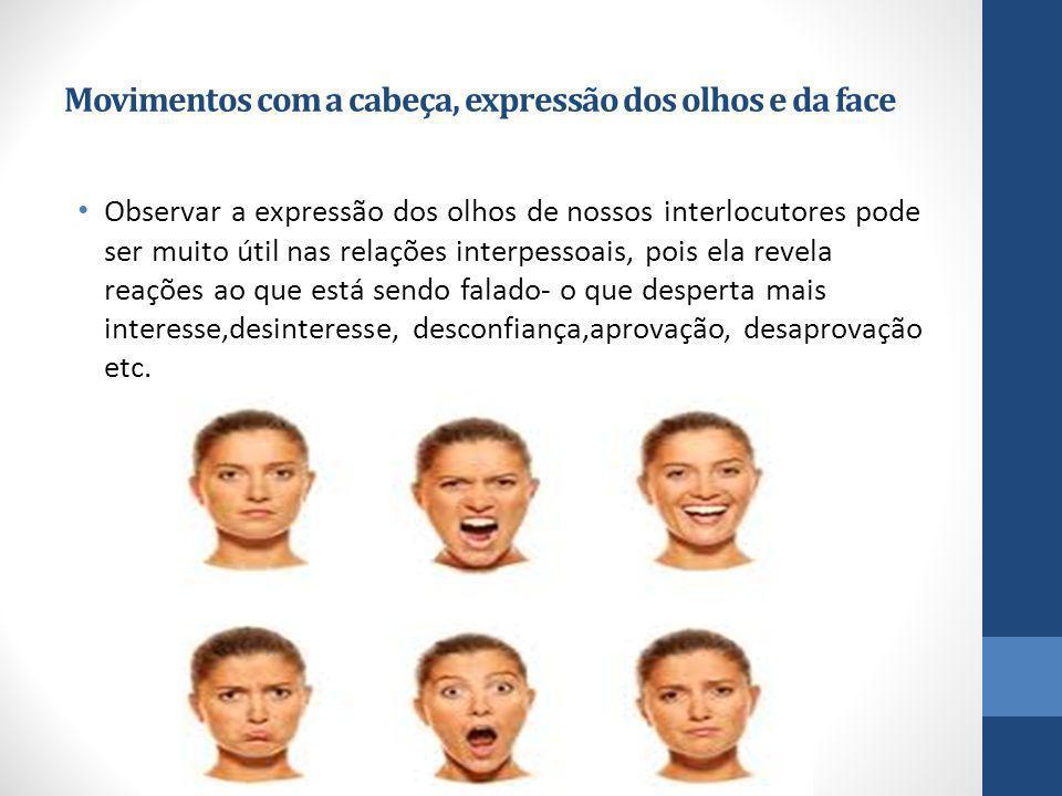 Movimentos com a cabeça, expressão dos olhos e da face Observar a expressão dos olhos de nossos interlocutores pode ser muito útil nas relações interp