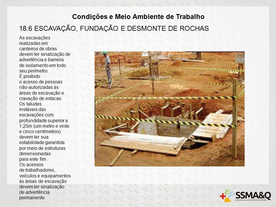 Condições e Meio Ambiente de Trabalho 18.6 ESCAVAÇÃO, FUNDAÇÃO E DESMONTE DE ROCHAS As escavações realizadas em canteiros de obras devem ter sinalização de advertência e barreira de isolamento em todo seu perímetro.
