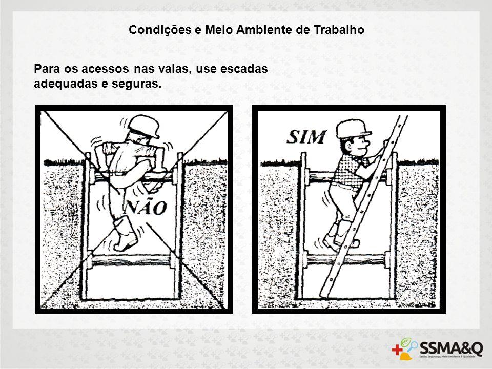 Condições e Meio Ambiente de Trabalho Para os acessos nas valas, use escadas adequadas e seguras.