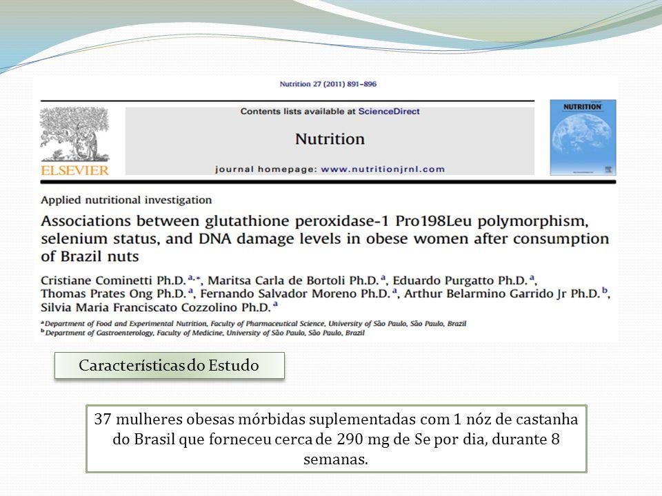 37 mulheres obesas mórbidas suplementadas com 1 nóz de castanha do Brasil que forneceu cerca de 290 mg de Se por dia, durante 8 semanas.
