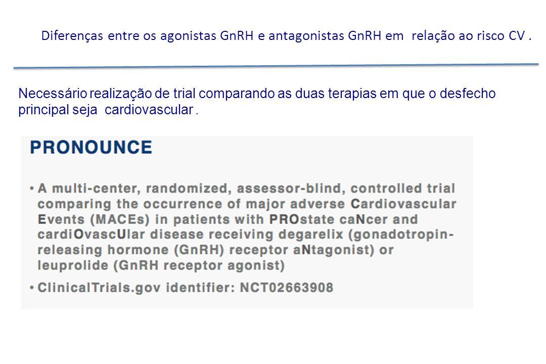 Diferenças entre os agonistas GnRH e antagonistas GnRH em relação ao risco CV.