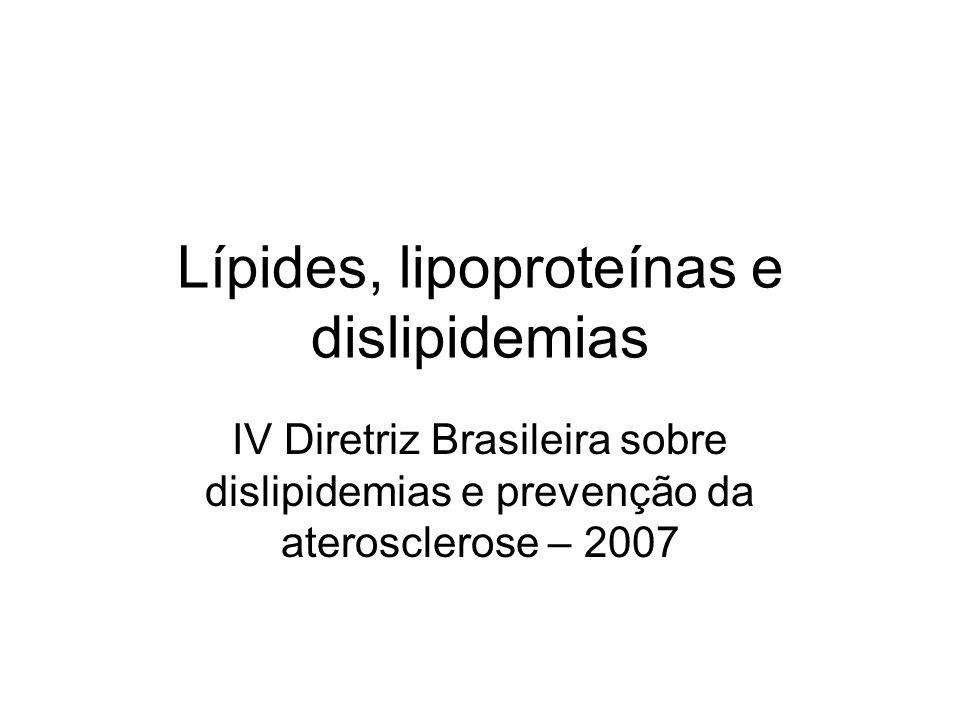 Lípides, lipoproteínas e dislipidemias IV Diretriz Brasileira sobre dislipidemias e prevenção da aterosclerose – 2007