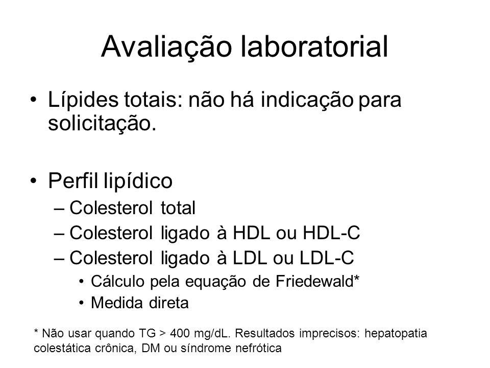 Avaliação laboratorial Lípides totais: não há indicação para solicitação.