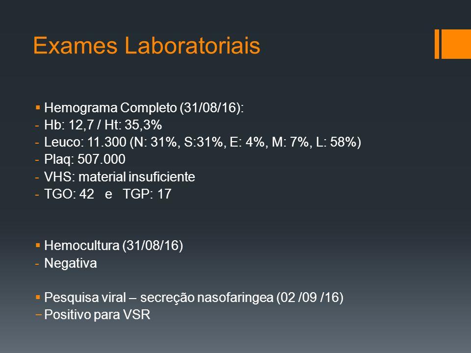 Exames Laboratoriais  Hemograma Completo (31/08/16): -Hb: 12,7 / Ht: 35,3% -Leuco: 11.300 (N: 31%, S:31%, E: 4%, M: 7%, L: 58%) -Plaq: 507.000 -VHS: material insuficiente -TGO: 42 e TGP: 17  Hemocultura (31/08/16) -Negativa  Pesquisa viral – secreção nasofaringea (02 /09 /16) −Positivo para VSR