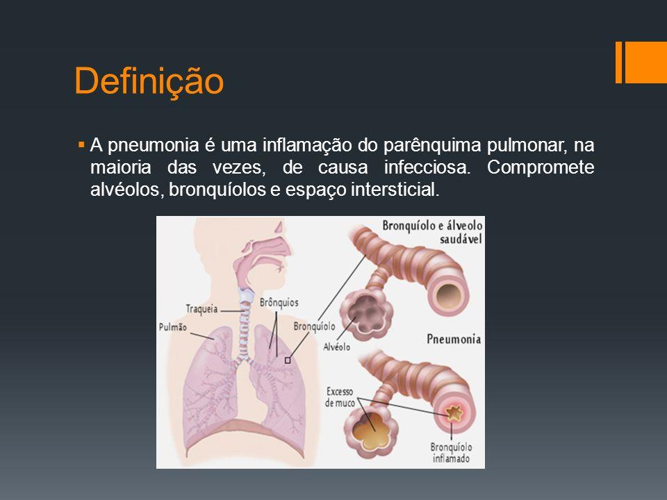 Definição  A pneumonia é uma inflamação do parênquima pulmonar, na maioria das vezes, de causa infecciosa.