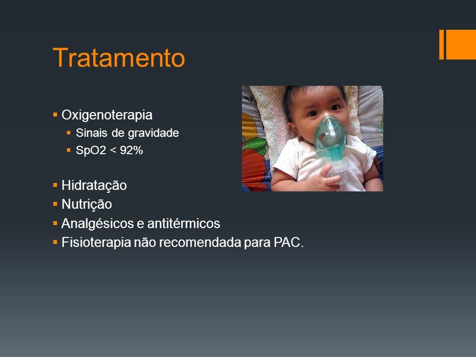 Tratamento  Oxigenoterapia  Sinais de gravidade  SpO2 < 92%  Hidratação  Nutrição  Analgésicos e antitérmicos  Fisioterapia não recomendada para PAC.