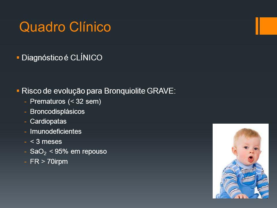 Quadro Clínico  Diagnóstico é CLÍNICO  Risco de evolução para Bronquiolite GRAVE: -Prematuros (< 32 sem) -Broncodisplásicos -Cardiopatas -Imunodeficientes -< 3 meses -SaO 2 < 95% em repouso -FR > 70irpm