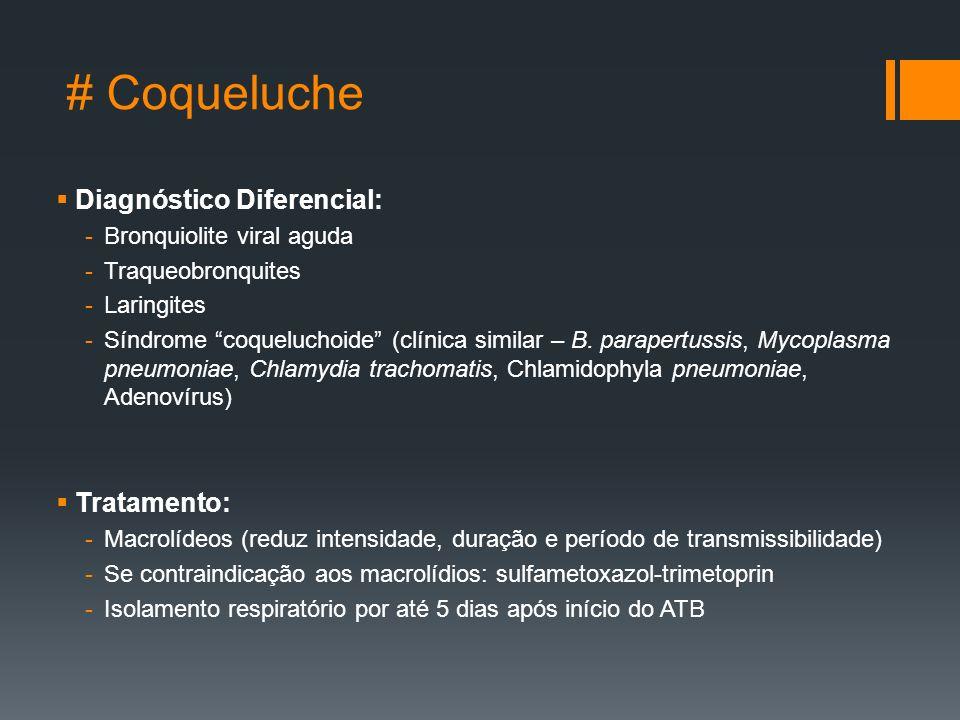 # Coqueluche  Diagnóstico Diferencial: -Bronquiolite viral aguda -Traqueobronquites -Laringites -Síndrome coqueluchoide (clínica similar – B.