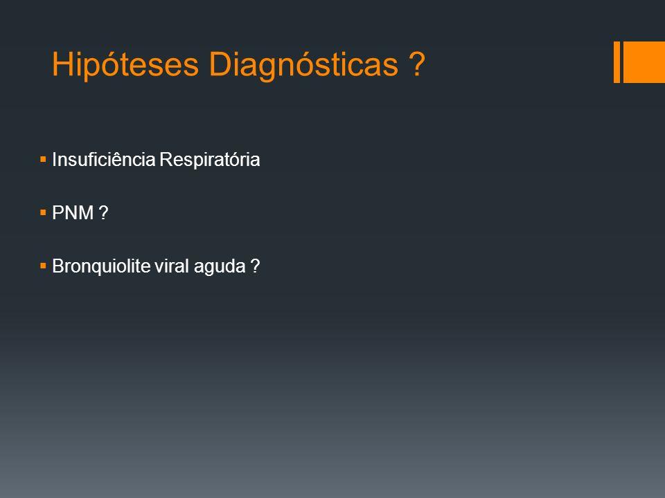 Hipóteses Diagnósticas  Insuficiência Respiratória  PNM  Bronquiolite viral aguda