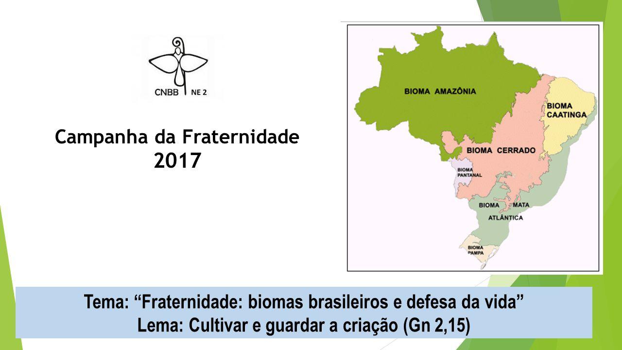 Campanha da Fraternidade 2017 Tema: Fraternidade: biomas brasileiros e defesa da vida Lema: Cultivar e guardar a criação (Gn 2,15)
