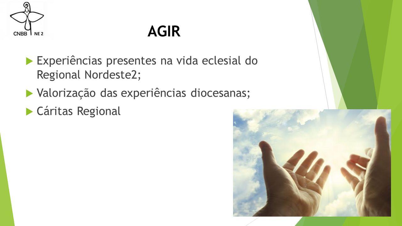 AGIR  Experiências presentes na vida eclesial do Regional Nordeste2;  Valorização das experiências diocesanas;  Cáritas Regional