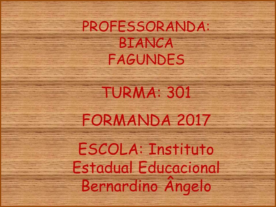 PROFESSORANDA: BIANCA FAGUNDES TURMA: 301 ESCOLA: Instituto Estadual Educacional Bernardino Ângelo FORMANDA 2017