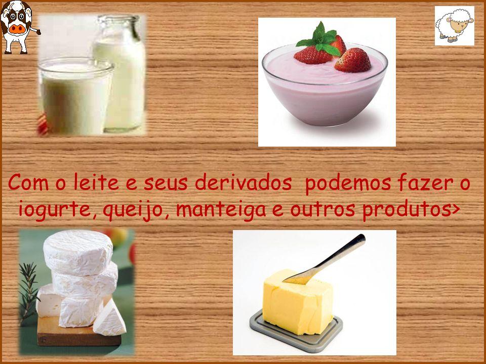 Com o leite e seus derivados podemos fazer o iogurte, queijo, manteiga e outros produtos>