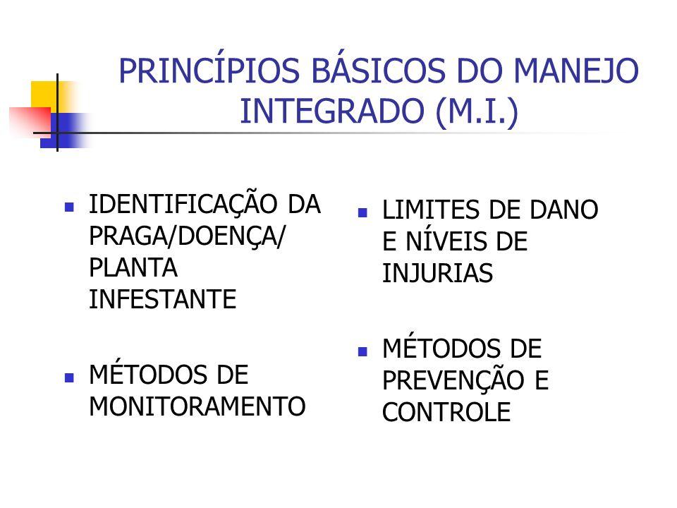 PRINCÍPIOS BÁSICOS DO MANEJO INTEGRADO (M.I.) IDENTIFICAÇÃO DA PRAGA/DOENÇA/ PLANTA INFESTANTE MÉTODOS DE MONITORAMENTO LIMITES DE DANO E NÍVEIS DE INJURIAS MÉTODOS DE PREVENÇÃO E CONTROLE