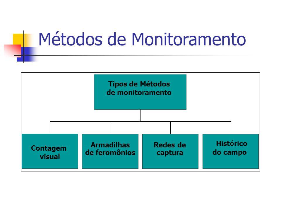 Métodos de Monitoramento Contagem visual Armadilhas de feromônios Hist ó rico do campo Tipos de Métodos de monitoramento Redes de captura