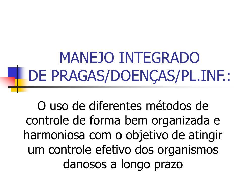 MANEJO INTEGRADO DE PRAGAS/DOENÇAS/PL.INF.: O uso de diferentes métodos de controle de forma bem organizada e harmoniosa com o objetivo de atingir um controle efetivo dos organismos danosos a longo prazo