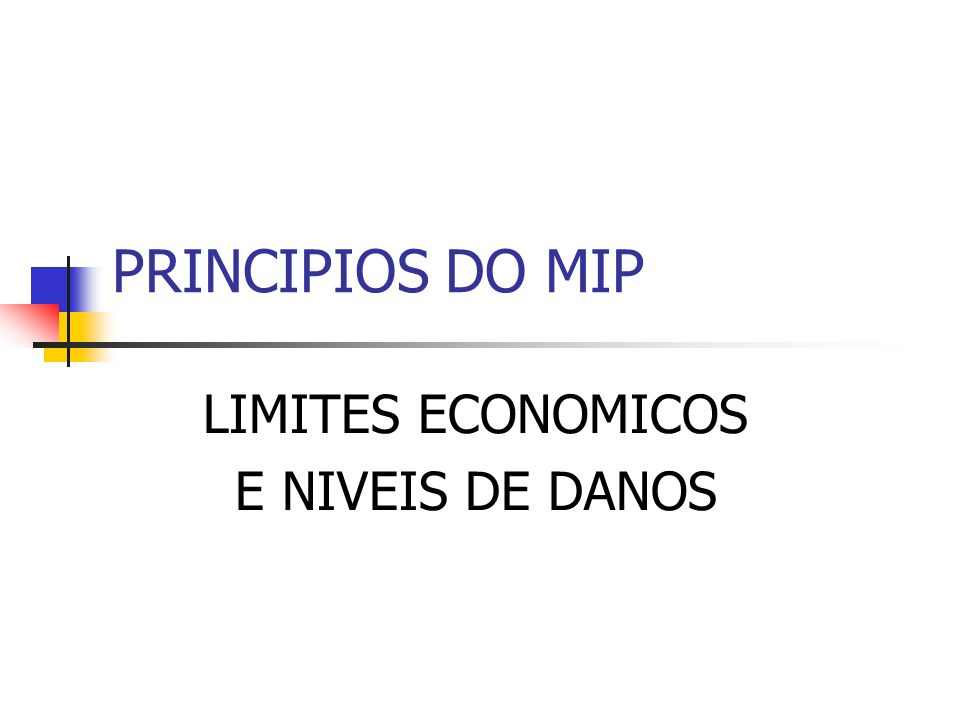 PRINCIPIOS DO MIP LIMITES ECONOMICOS E NIVEIS DE DANOS