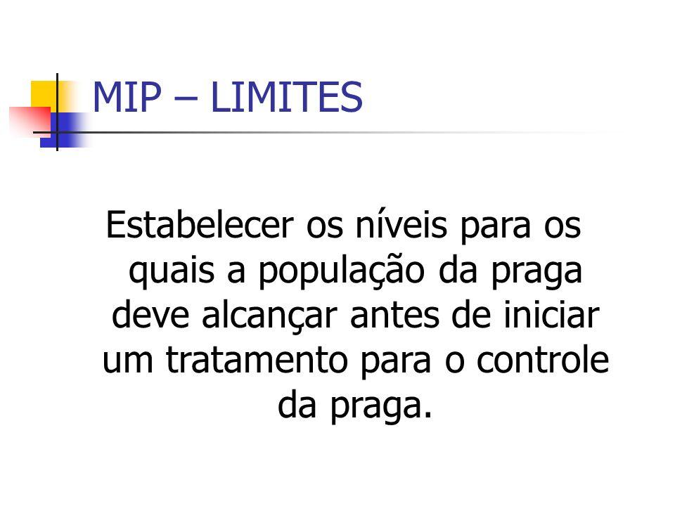 MIP – LIMITES Estabelecer os níveis para os quais a população da praga deve alcançar antes de iniciar um tratamento para o controle da praga.