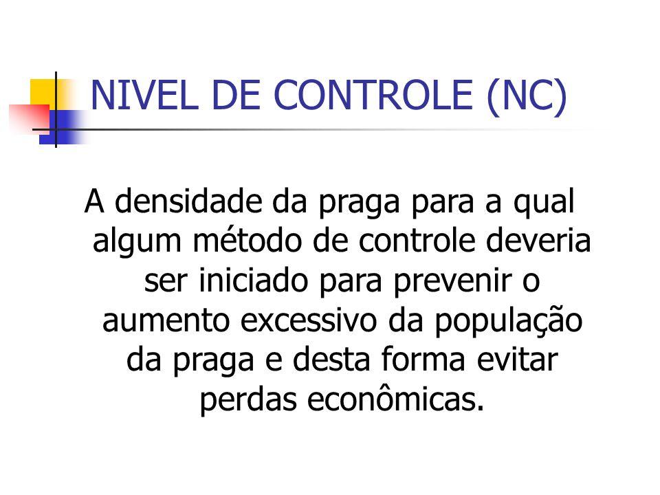 NIVEL DE CONTROLE (NC) A densidade da praga para a qual algum método de controle deveria ser iniciado para prevenir o aumento excessivo da população da praga e desta forma evitar perdas econômicas.