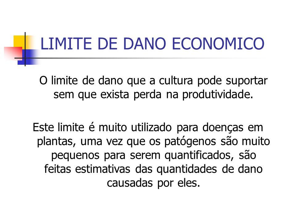 LIMITE DE DANO ECONOMICO O limite de dano que a cultura pode suportar sem que exista perda na produtividade.