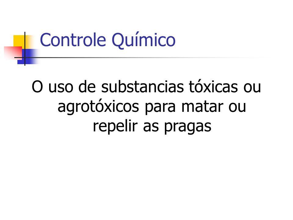 Controle Químico O uso de substancias tóxicas ou agrotóxicos para matar ou repelir as pragas