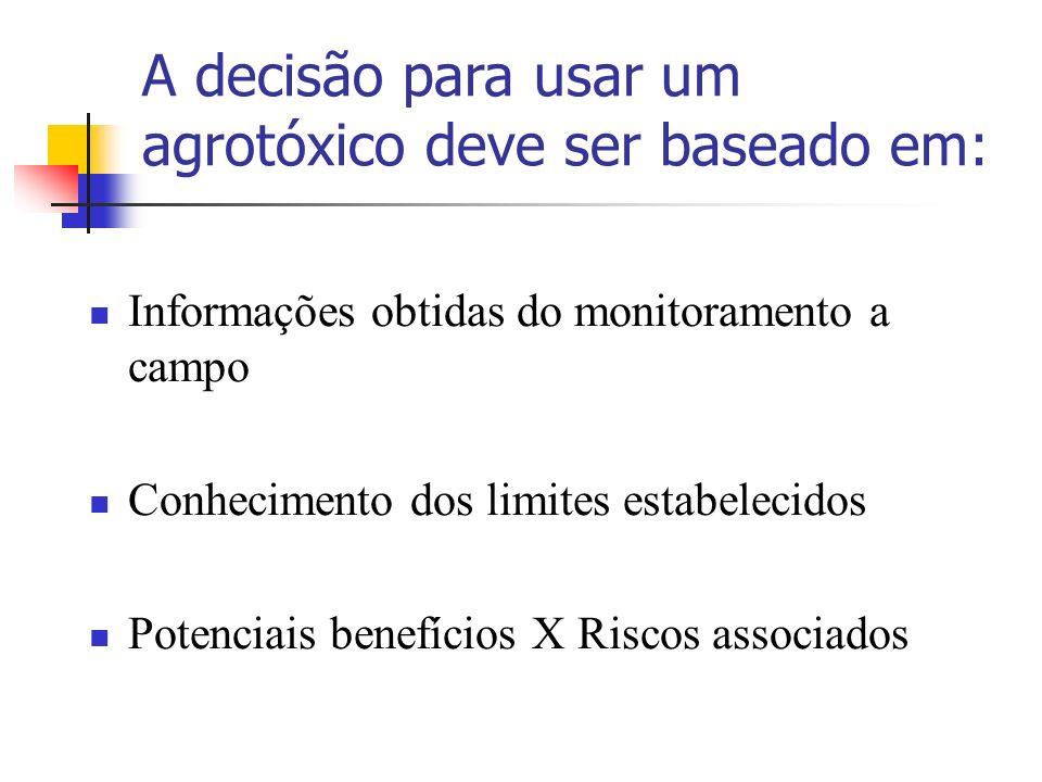 A decisão para usar um agrotóxico deve ser baseado em: Informações obtidas do monitoramento a campo Conhecimento dos limites estabelecidos Potenciais benefícios X Riscos associados