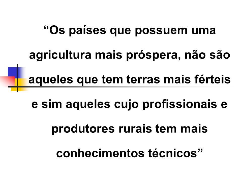 Os países que possuem uma agricultura mais próspera, não são aqueles que tem terras mais férteis e sim aqueles cujo profissionais e produtores rurais tem mais conhecimentos técnicos