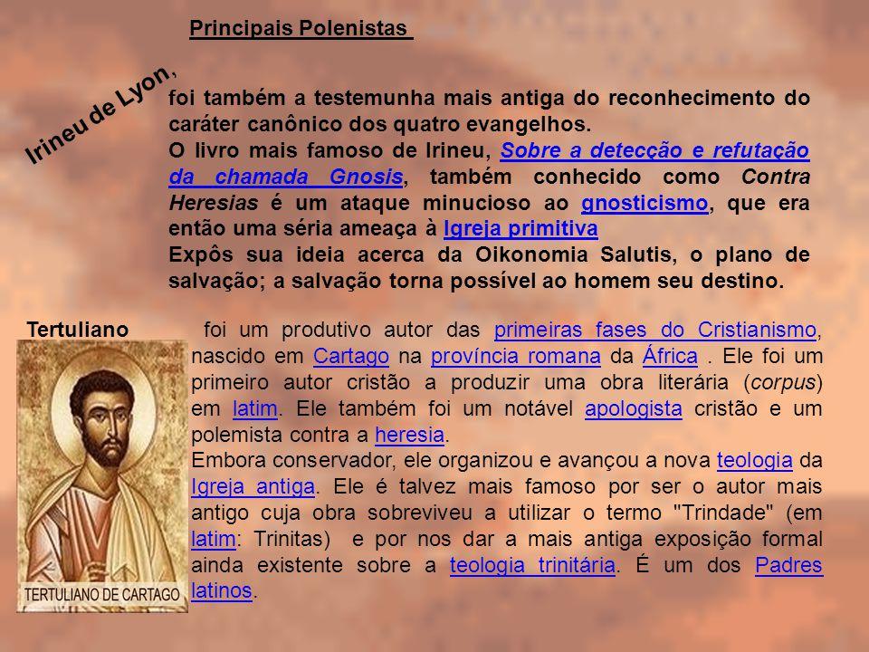foi também a testemunha mais antiga do reconhecimento do caráter canônico dos quatro evangelhos. O livro mais famoso de Irineu, Sobre a detecção e ref