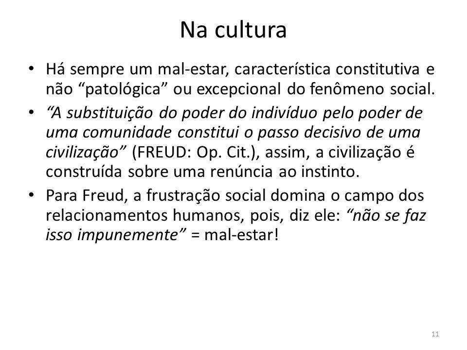 11 Na cultura Há sempre um mal-estar, característica constitutiva e não patológica ou excepcional do fenômeno social. A substituição do poder do indiv