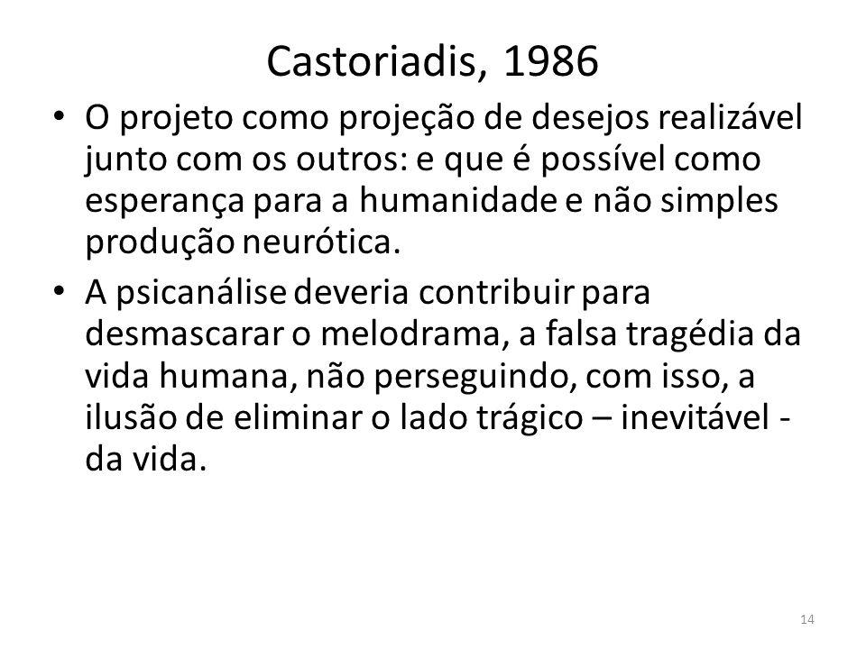 14 Castoriadis, 1986 O projeto como projeção de desejos realizável junto com os outros: e que é possível como esperança para a humanidade e não simples produção neurótica.