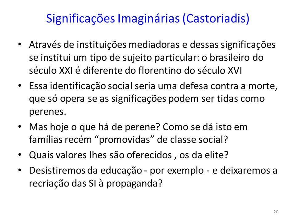 20 Significações Imaginárias (Castoriadis) Através de instituições mediadoras e dessas significações se institui um tipo de sujeito particular: o bras