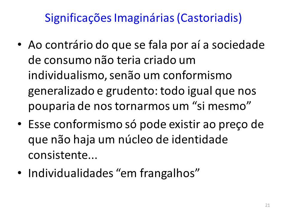 21 Significações Imaginárias (Castoriadis) Ao contrário do que se fala por aí a sociedade de consumo não teria criado um individualismo, senão um conf