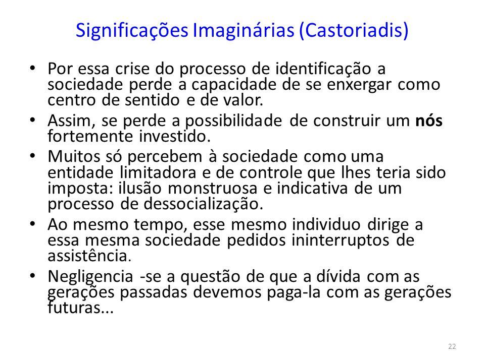 22 Significações Imaginárias (Castoriadis) Por essa crise do processo de identificação a sociedade perde a capacidade de se enxergar como centro de sentido e de valor.