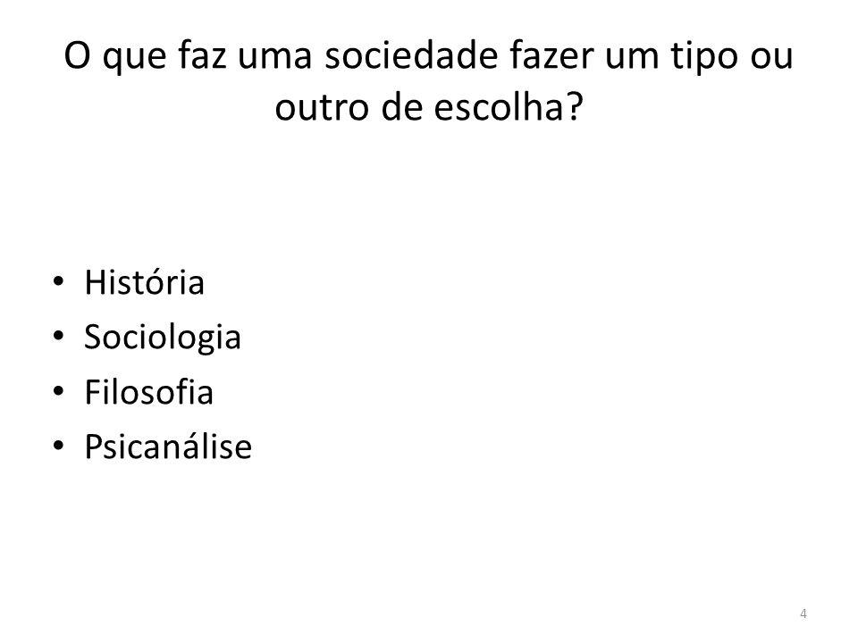 4 O que faz uma sociedade fazer um tipo ou outro de escolha? História Sociologia Filosofia Psicanálise
