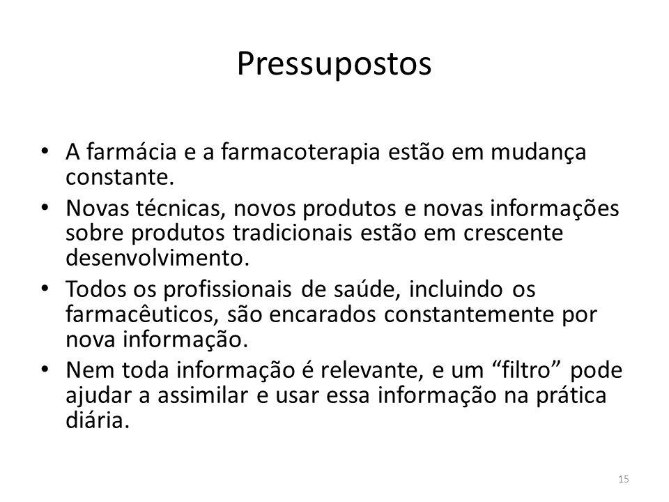 15 Pressupostos A farmácia e a farmacoterapia estão em mudança constante.