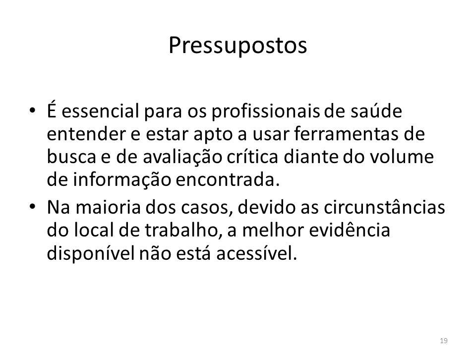 19 Pressupostos É essencial para os profissionais de saúde entender e estar apto a usar ferramentas de busca e de avaliação crítica diante do volume de informação encontrada.