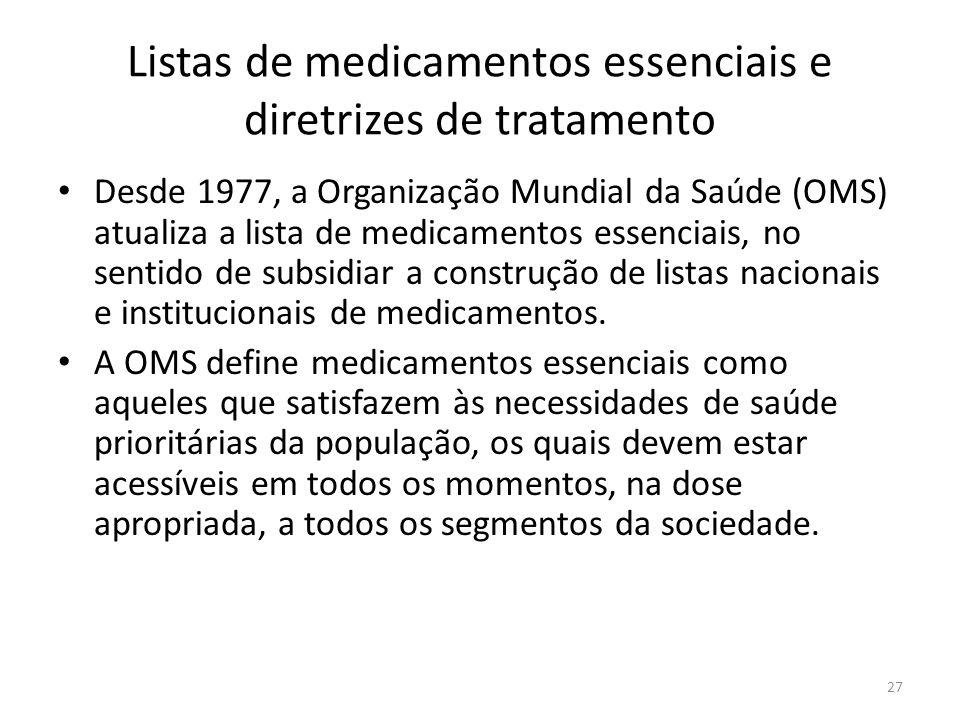 27 Listas de medicamentos essenciais e diretrizes de tratamento Desde 1977, a Organização Mundial da Saúde (OMS) atualiza a lista de medicamentos essenciais, no sentido de subsidiar a construção de listas nacionais e institucionais de medicamentos.