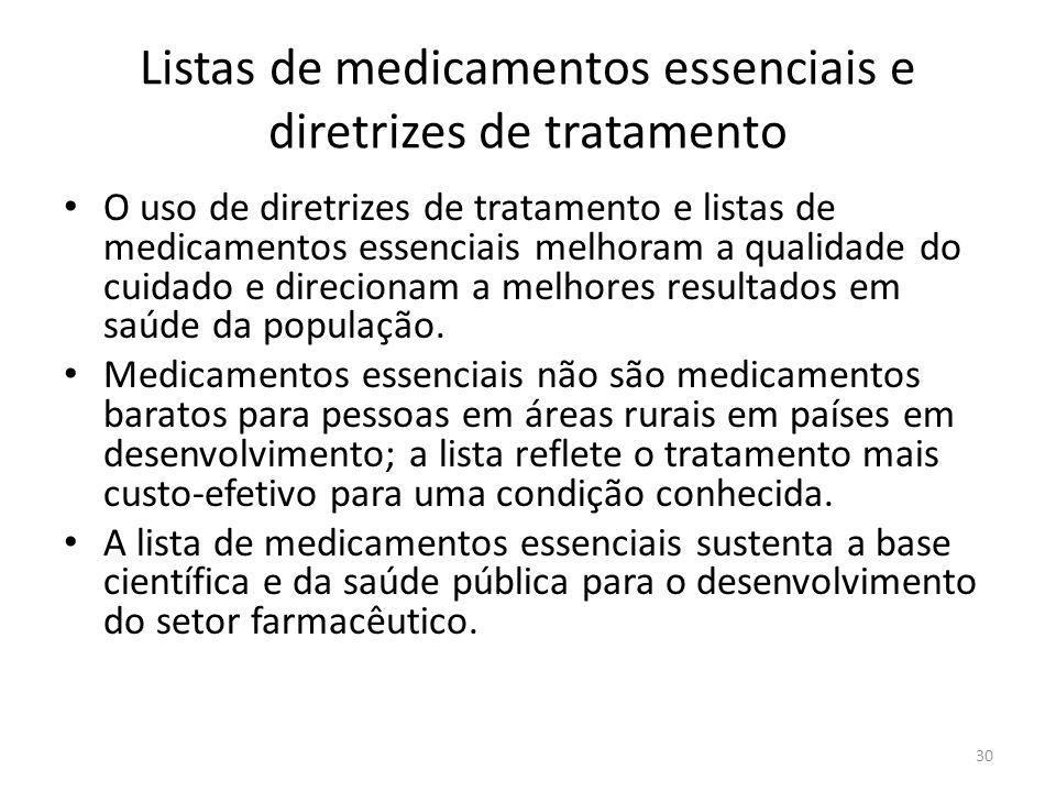 30 Listas de medicamentos essenciais e diretrizes de tratamento O uso de diretrizes de tratamento e listas de medicamentos essenciais melhoram a qualidade do cuidado e direcionam a melhores resultados em saúde da população.